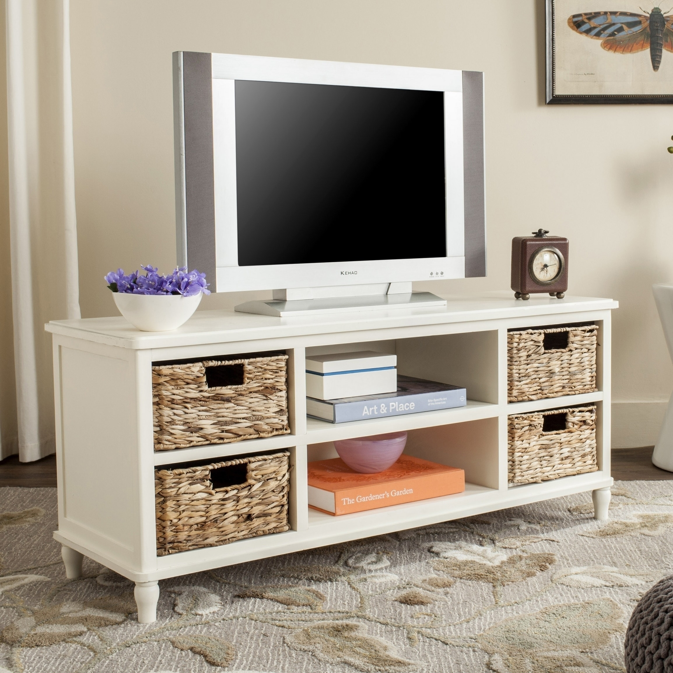 on sale daa5a 600f7 Heyer Distressed White Entertainment Unit