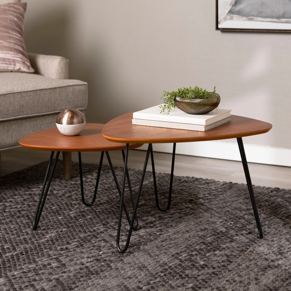 Carson Carrington Arendal Hairpin Leg Walnut Wood Nesting Coffee Table Set