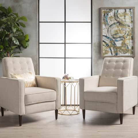 Mervynn Mid-Century Fabric Recliner Accent Chair (Set of 2) by Christopher Knight Home