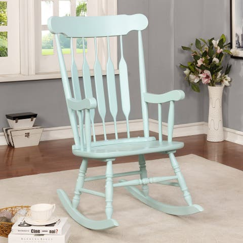 Furniture of America Quak Country Rocking Chair with Slatted Backrest