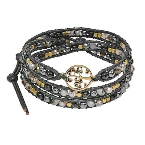 Handmade Mystic Tree of Life on Genuine Leather Beads Wrap Bracelet