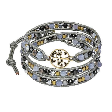 Handmade Mystic Tree of Life on Genuine Leather Beads Wrap Bracelet (Thailand)