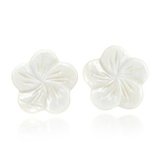 Link to Beautiful White Plumeria Flower Carved from Mother of Pearl Post Earrings Similar Items in Earrings