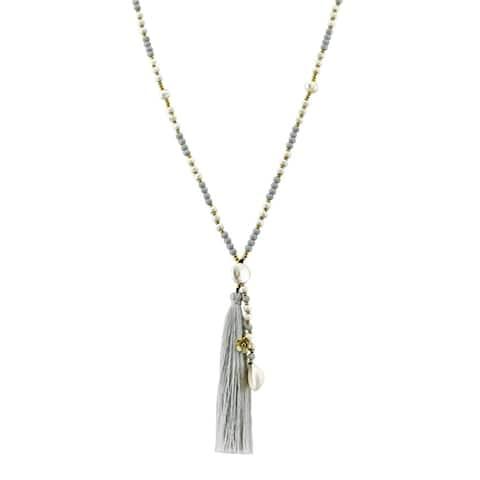 Handmade Breezy & Chic Grey Tassel w/ Stone & Shell Beaded Long Necklace
