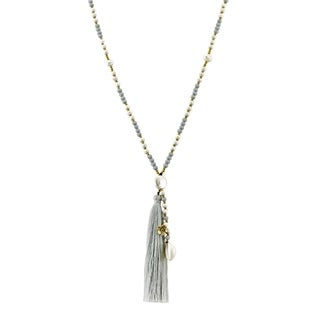 Handmade Breezy & Chic Grey Tassel w/ Stone & Shell Beaded Long Necklace