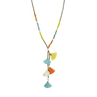 Fun & Colorful Fiesta of Tassels on Multi-Color Beaded Long Necklace