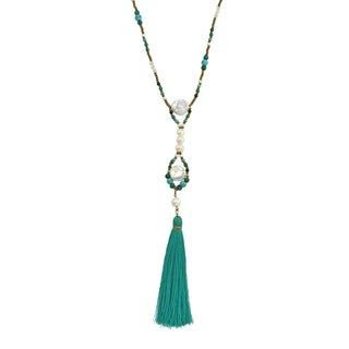 Beach Chic Green Tassel w/ Pearl & Blue Turquoise Beads Long Necklace