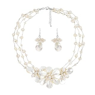 Glowing White Bouquet of Pearls & Shells Floral Inspired Jewelry Set