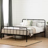 South Shore Versa Black Metal Queen Platform Bed with Headboard