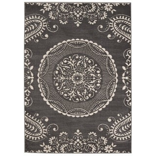 Meticulous Medallion Charcoal Grey Rug - 7'10 x 10'