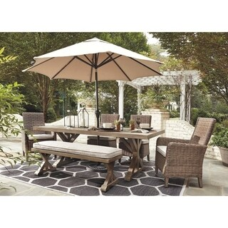 Signature Design by Ashley Beachcroft Beige Outdoor Rectangular Dining Table with Umbrella Option