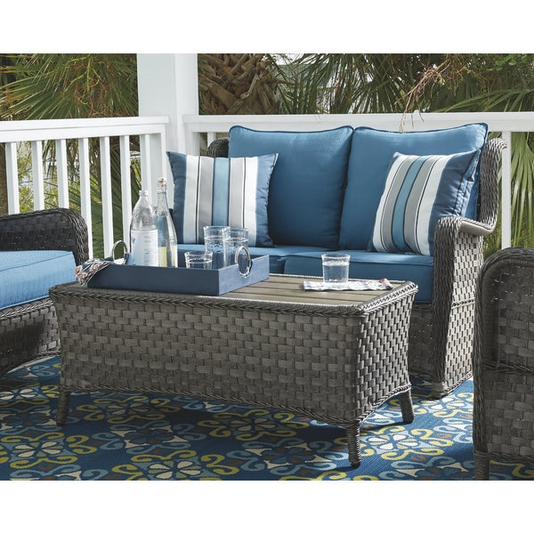 Exceptionnel Signature Design By Ashley Abbots Court Blue And Gray Outdoor Loveseat And  Table Set