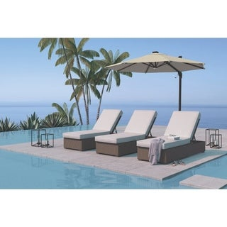 Signature Design by Ashley Alta Grande Beige and Brown Outdoor Chaise Lounge with Cushion