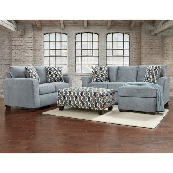 Sofa Trendz Cambridge Blue/Grey Sofa Chaise & Loveseat 2-pc Set
