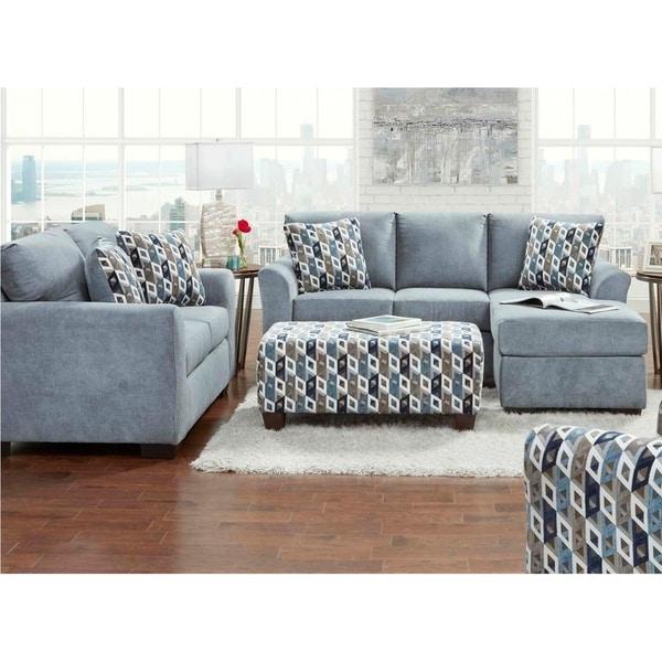 Sofa Trendz Cambridge Blue Grey Chaise Loveseat 2 Pc Set