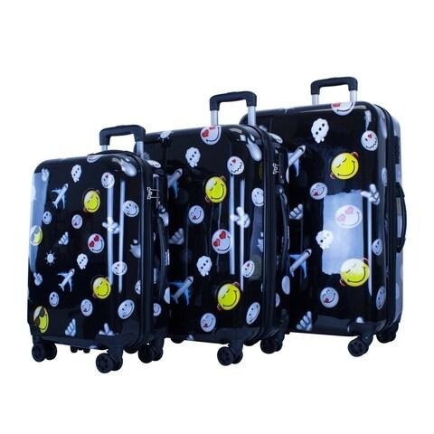 Smiley World Happy Travels 3pc Premium Luggage Set
