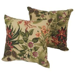 Blazing Needles Floral Stripe 18 Inch Throw Pillows Set