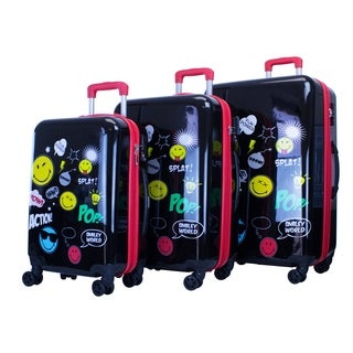 Smiley World Pop 3pc Premium Luggage Set