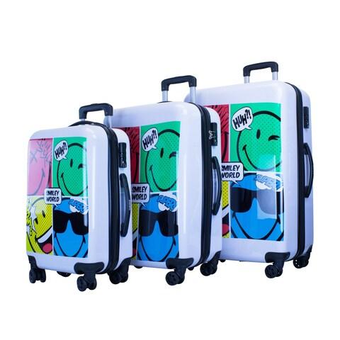 Smiley World Comic 3pc Premium Luggage Set