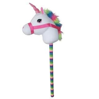 """Ponyland Giddy-Up Fantasy 28"""" Stick Horse Plush, White Unicorn w/sound"""