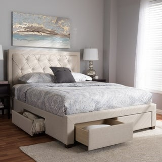 Contemporary Fabric Upholstered Storage Bed by Baxton Studio