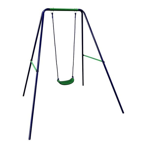 ALEKO Playground Child Sturdy Outdoor Swing Seat - W: 55 x H: 70 x L: 55 inches. Opens flyout.