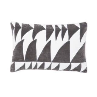 Nikki Chu Priscilla White/Gray Geometric Poly Throw Pillow 16X24 inch