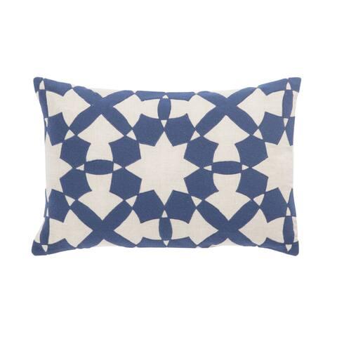Nikki Chu Casino Blue/Ivory Geometric Down Throw Pillow