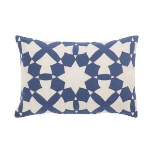 Nikki Chu Casino Blue/Ivory Geometric Down Throw Pillow 16X24 inch