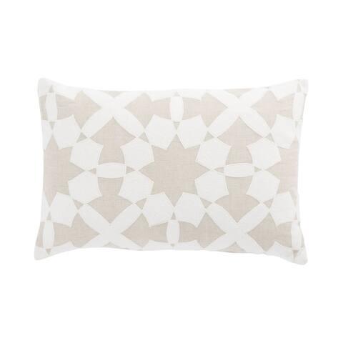 Nikki Chu Casino Beige/Ivory Geometric Down Throw Pillow 16X24 inch
