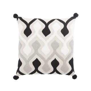 Nikki Chu Ophelia Black/Ivory Graphic Poly Throw Pillow 22 inch