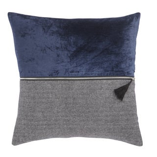 Nikki Chu Kirat Blue/Gray Textured Down Throw Pillow 22 inch