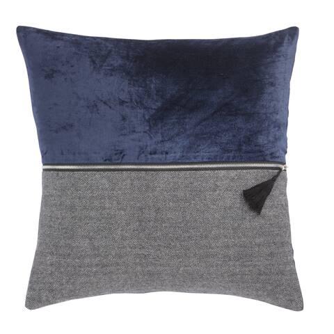 Nikki Chu Kirat Blue/Gray Textured Poly Throw Pillow 22 inch