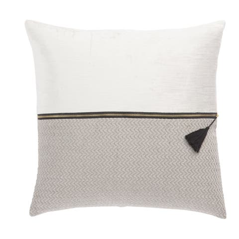 Nikki Chu Kirat White/Light Gray Textured Poly Throw Pillow 22 inch