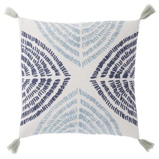Nikki Chu Angelika Blue/Silver Textured Down Throw Pillow 22 inch