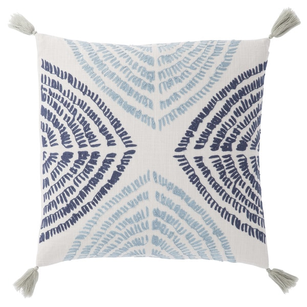 Nikki Chu Angelika Blue/Silver Textured Down Throw Pillow 22 inch