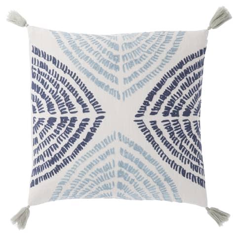 Nikki Chu Angelika Blue/Silver Textured Poly Throw Pillow 22 inch