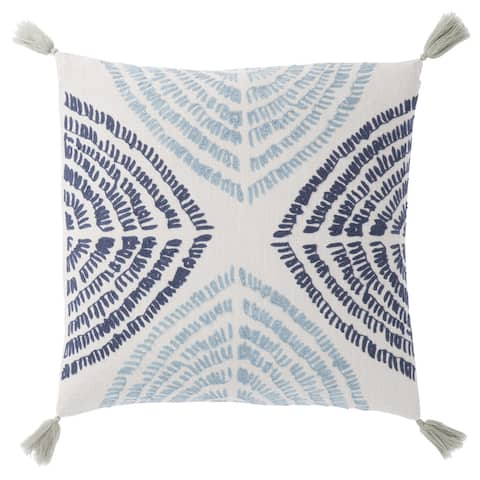 Nikki Chu Angelika Blue/Silver Textured Poly Throw Pillow 22 inch