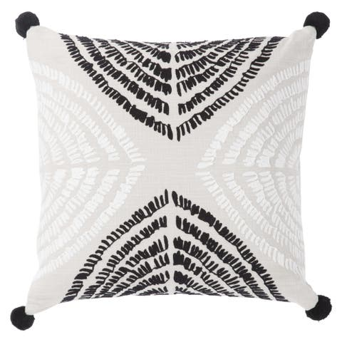 Nikki Chu Angelika Black/Silver Textured Poly Throw Pillow 22 inch