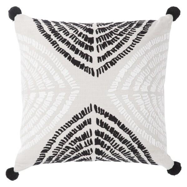 Nikki Chu Angelika Black/Silver Textured Down Throw Pillow 22 inch