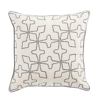 Nikki Chu Greta Cream/Black Geometric Poly Throw Pillow 22 inch