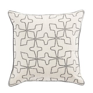 Nikki Chu Greta Cream/Black Geometric Down Throw Pillow 22 inch