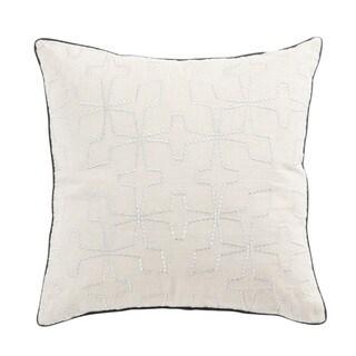 Nikki Chu Greta Cream/Silver Geometric Poly Throw Pillow 22 inch