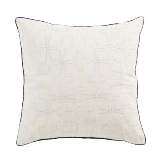 Nikki Chu Greta Cream/Silver Geometric Down Throw Pillow 22 inch
