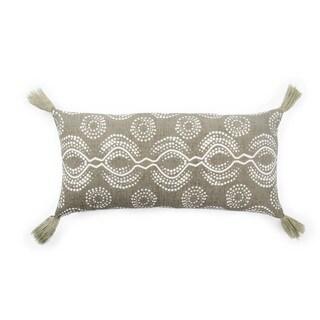Nikki Chu Satin Taupe/White Graphic Poly Throw Pillow 10X21 inch