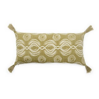 Nikki Chu Satin Green/White Graphic Down Throw Pillow 10X21 inch