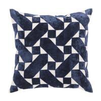 Nikki Chu Danceteria Blue/Ivory Geometric Down Throw Pillow 22 inch