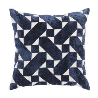 Nikki Chu Danceteria Blue Ivory Geometric Down Throw Pillow 22 Inch