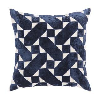 Nikki Chu Danceteria Blue/Ivory Geometric Poly Throw Pillow 22 inch