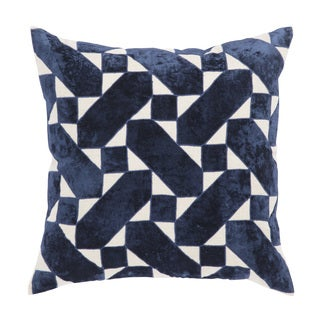 Nikki Chu Danceteria Blue/Ivory Geometric Poly Throw Pillow 22 inch